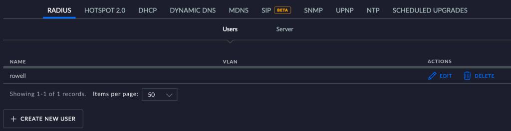 Unifi RADIUS users