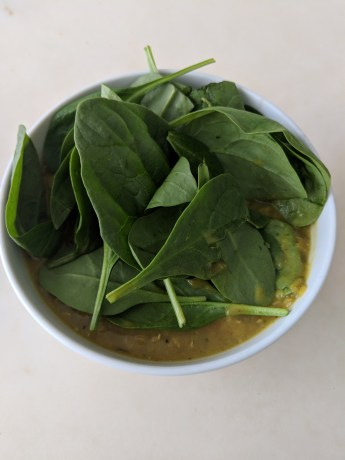 curried lentil soup with spinach