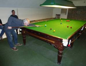 snooker table in action