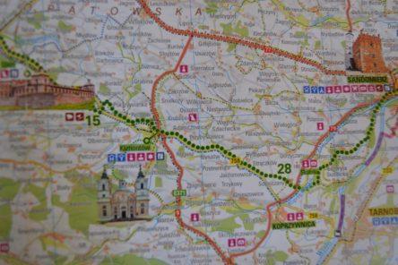 zielone okrągłe kropki to szlak Green Velo