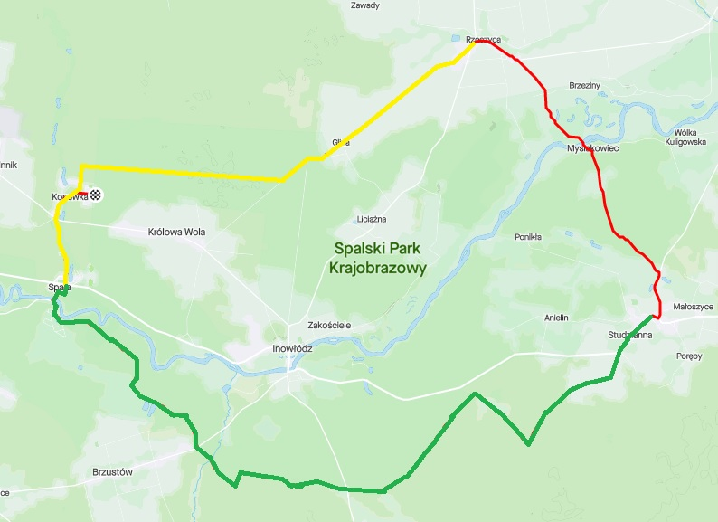 mapa z trasą wycieczki