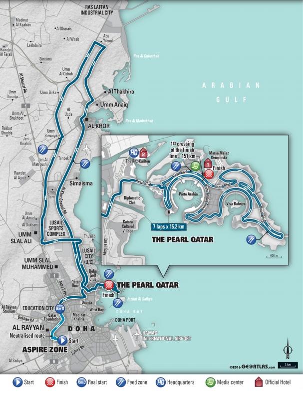 Trasa mistrzostw świata w kolarstwie szosowym - Doha 2016