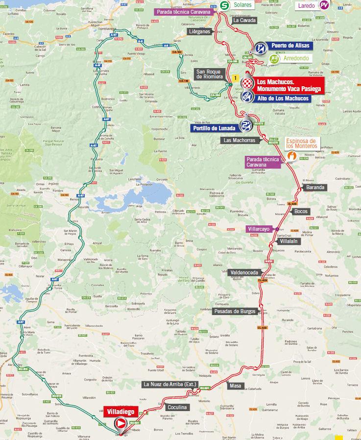 mapka 17. etapu Vuelta a Espana 2017