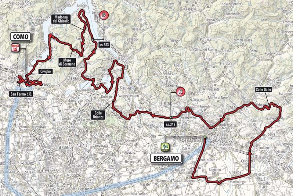 mapa wyścigu Il Lombardia 2017