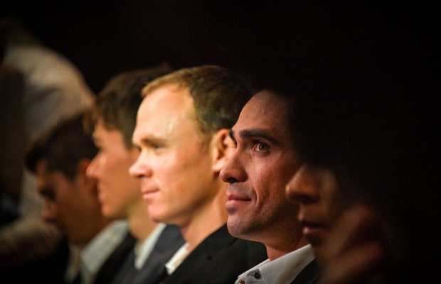 Frome i Contador na widowni podczas prezentacji TdF 2018