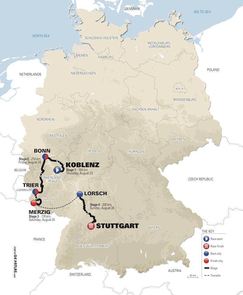 mapa Deutschland Tour 2018