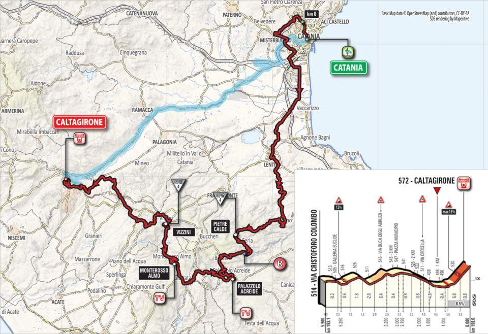 mapka 4. etapu Giro d'Italia 2018