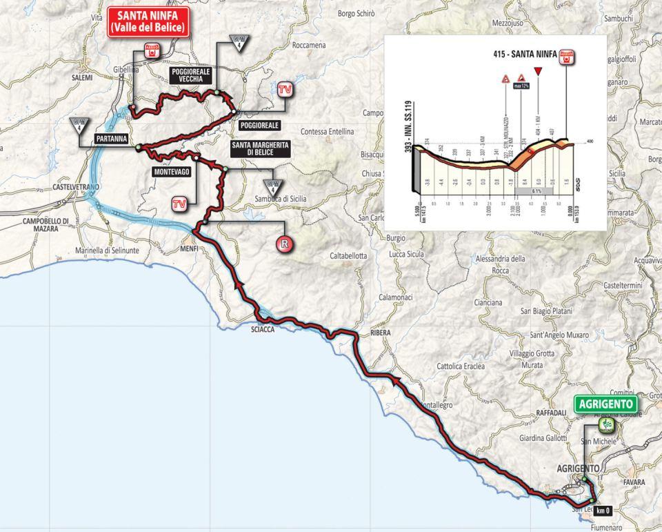 mapka 5. etapu Giro d'Italia 2018