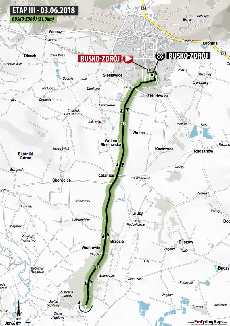 trasa 3. etapu Wyścigu Szlakiem Walk Majora Hubala 2018