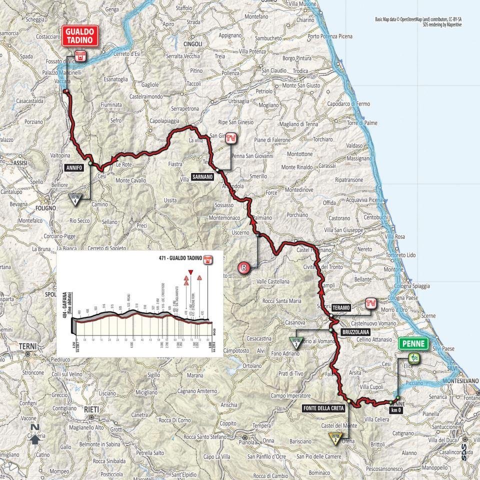 mapka 10. etapu Giro d'Italia 2018
