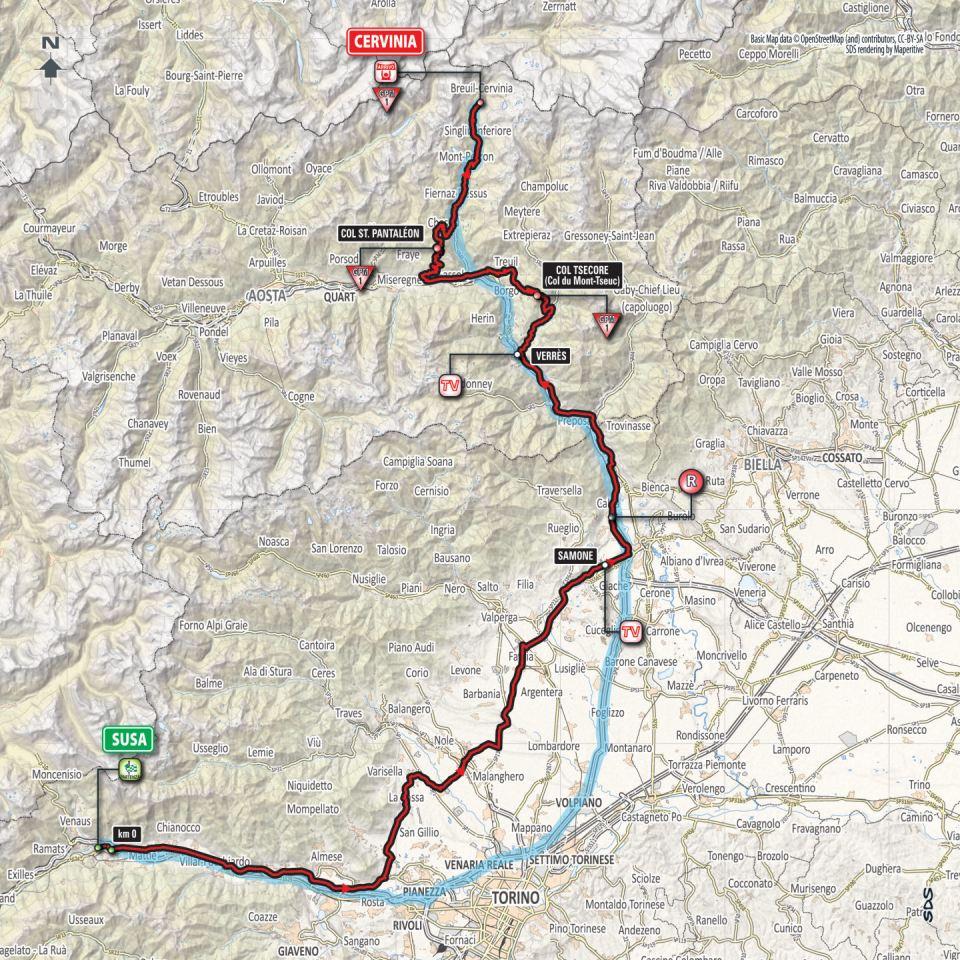 mapka 20. etapu Giro d'Italia 2018