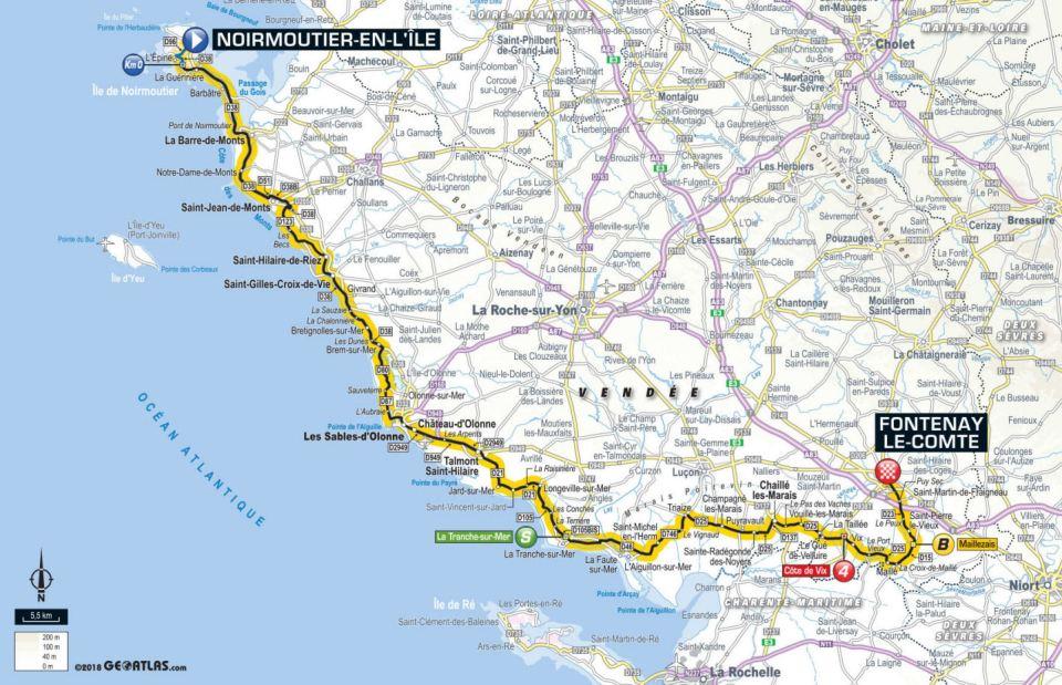 mapa 1. etapu Tour de France 2018