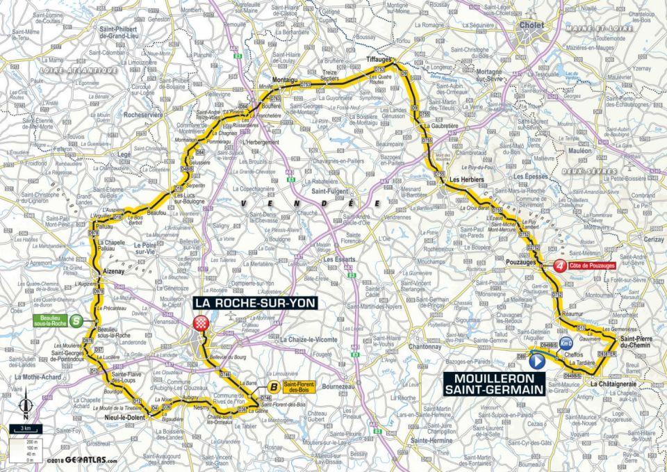 mapa 2. etapu Tour de France 2018