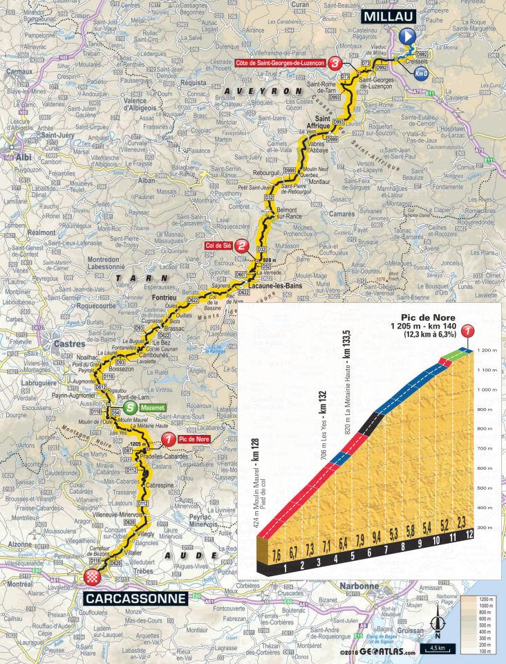 mapka 15. etapu Tour de France 2018