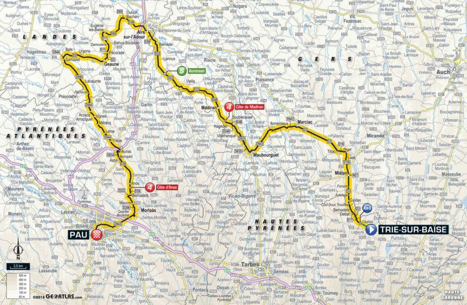 trasa 18. etapu Tour de France 2018