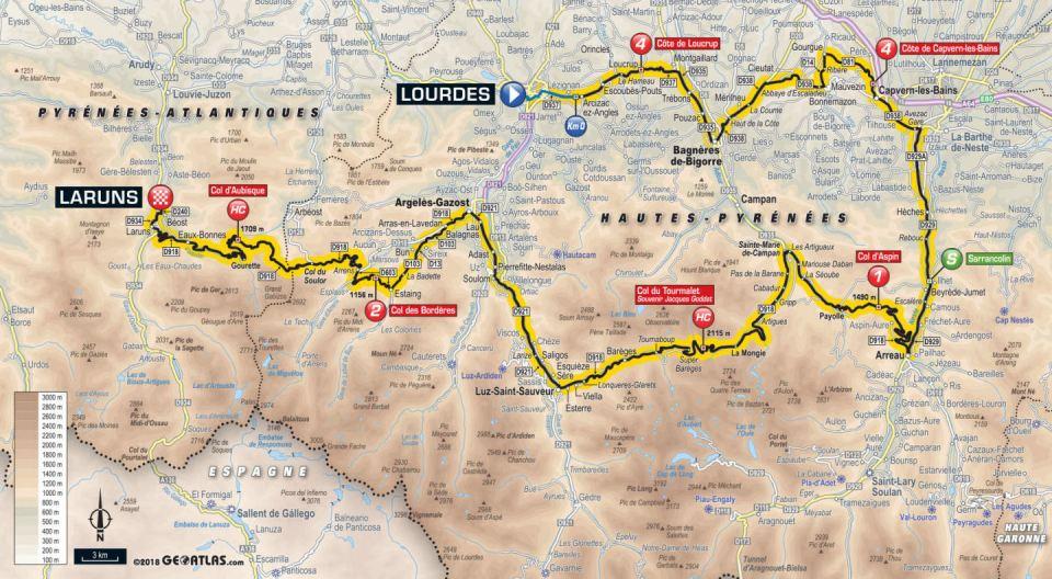 trasa 19. etapu Tour de France 2018