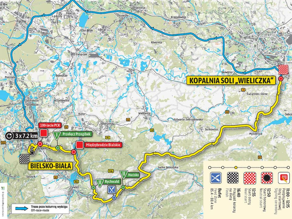 mapa 5. etapu Tour de Pologne 2018