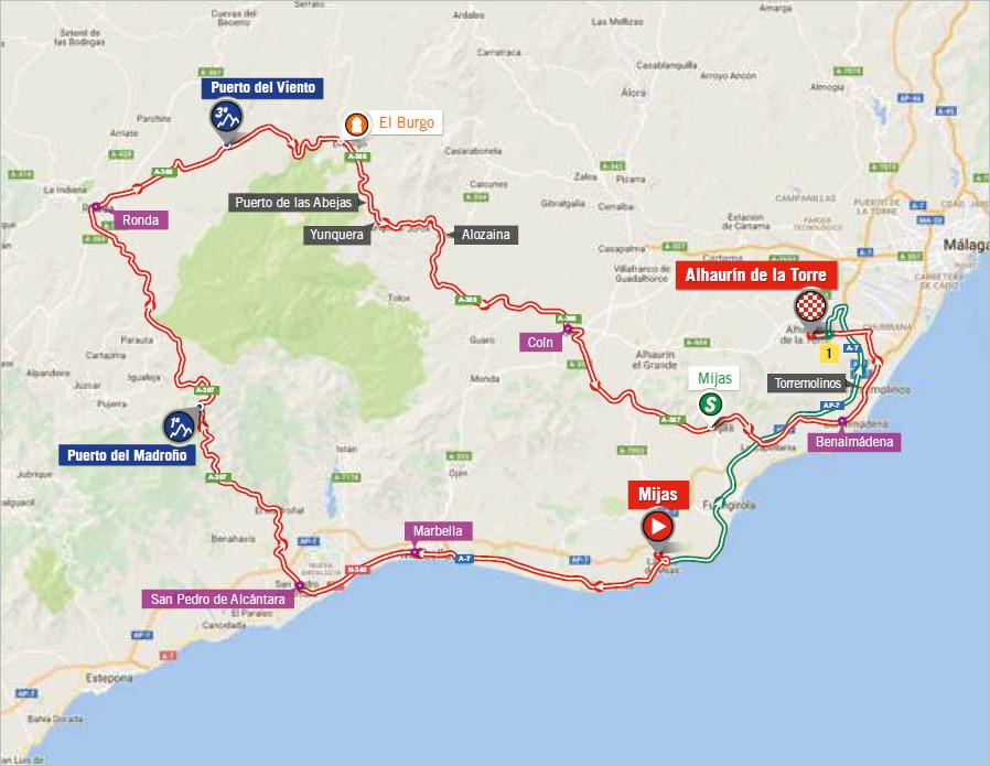 mapka 3. etapu Vuelta a Espana 2018