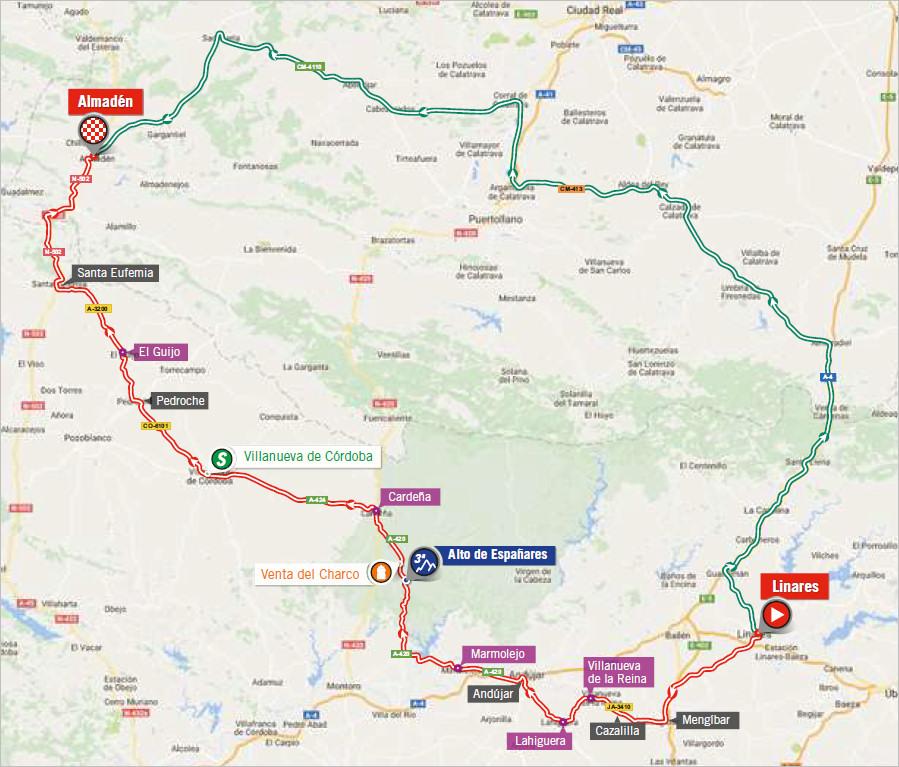 trasa 8. etapu Vuelta a Espana 2018