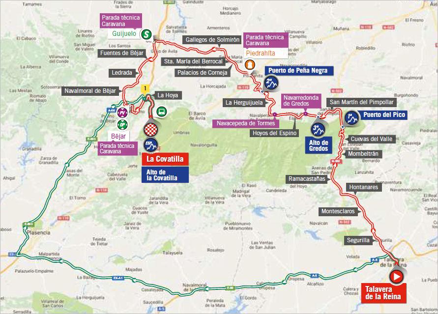mapka 9. etapu Vuelta a Espana 2018
