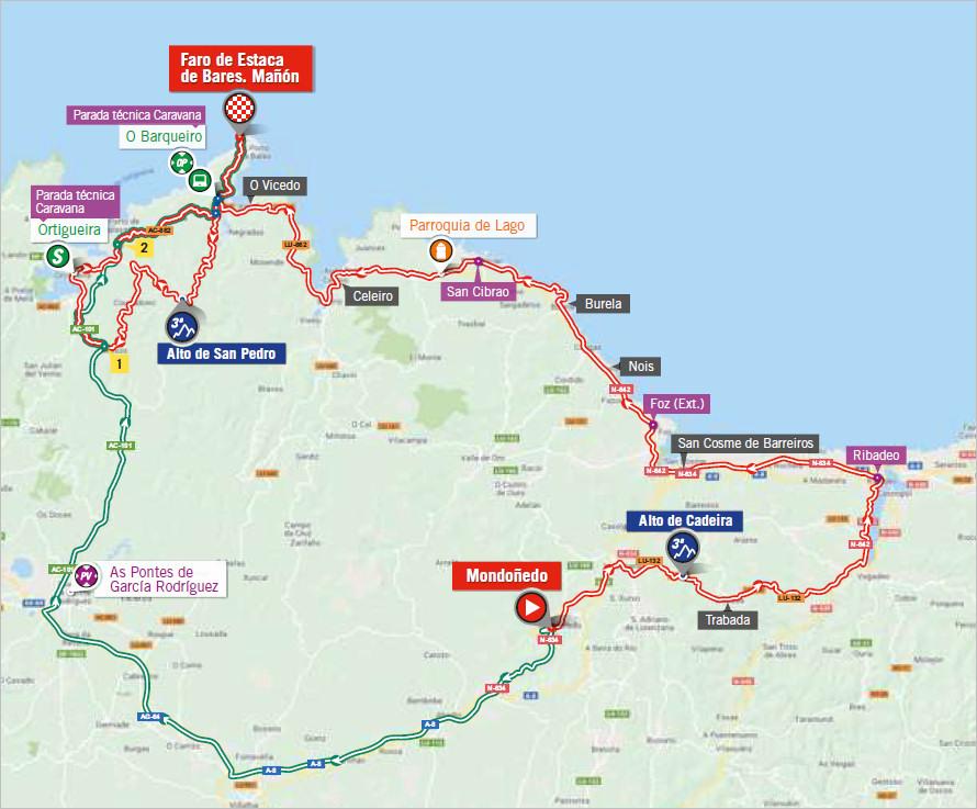 mapka 12. etapu Vuelta a Espana 2018