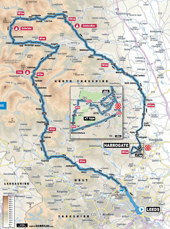 mapa wyścigu ze startu wspólnego na czas mistrzostw świata Yorkshire 2019
