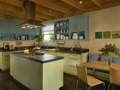 Funky Combination Of Blue And Green Cabinets