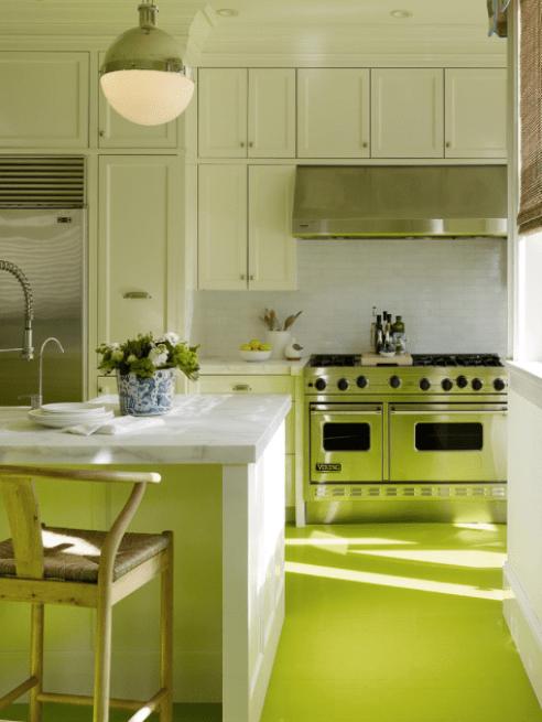 Bright Green Kitchen Floor