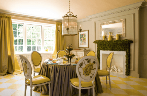 Yellow And Grey Diamonds In Dining Room