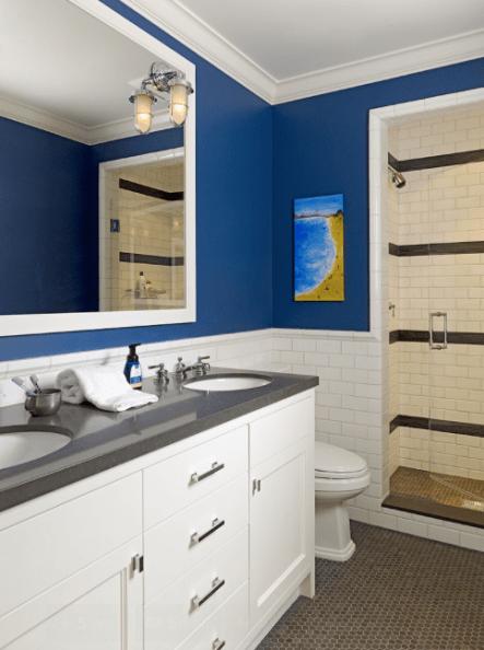 Deep Rich Blue Bathroom Walls