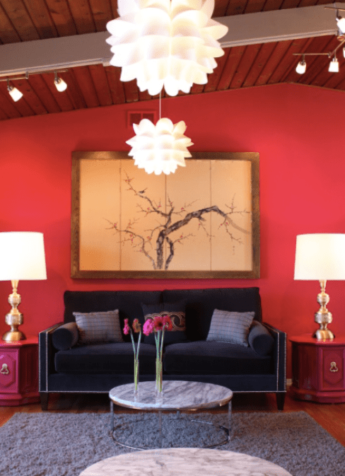 Red Living Room Accent Wall