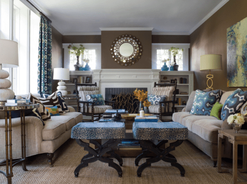 Brown Living Room With Blue Touches
