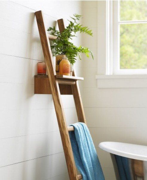 Teak Ladder with Shelf | VivaTerra