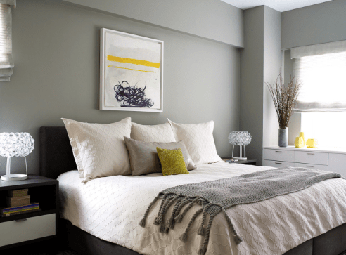Yellow can be a very sharp colour so in a space where you want to relax, like the bedroom, a little goes a long way.