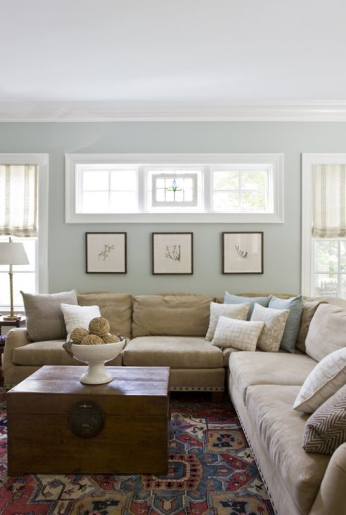 For wall paint try a duller shade of your favourite colour to create a relaxing space. Get this look with Benjamin Moore Tranquility.