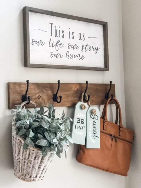 A simple board with hooks is a great way to keep the entry of your home organized.