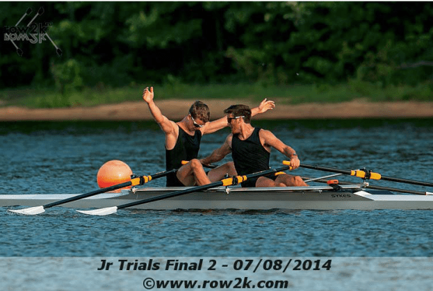 Left to right: Daniel Holod (MN) with Galen Bernick (AZ) in stroke seat, visibly celebrating their 1st place win in the 2nd Final at USRowing Trials in New Jersey. June 2014