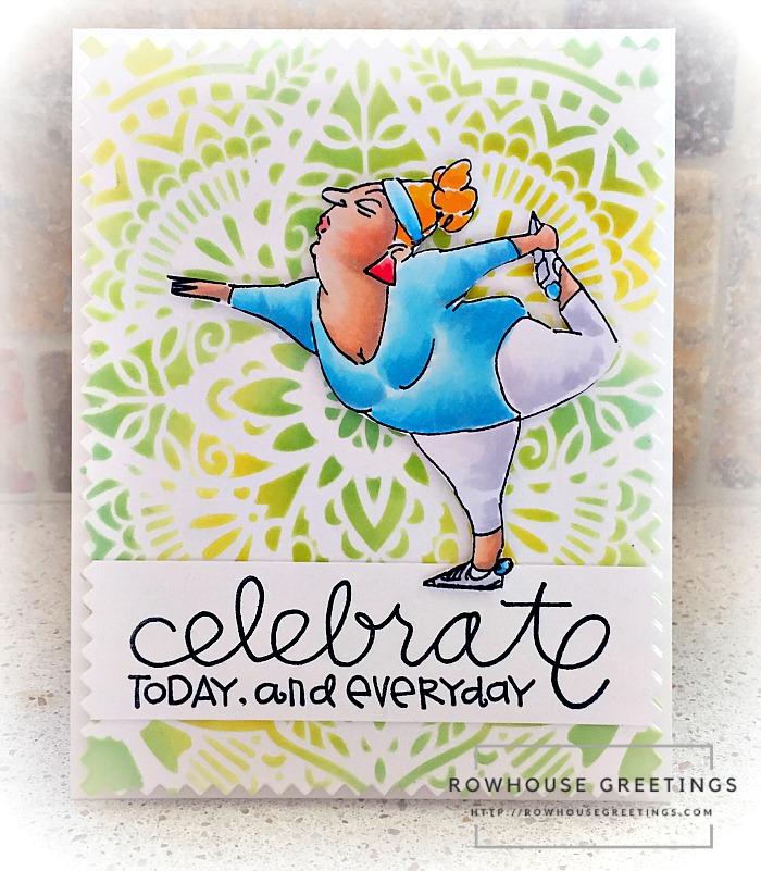 Rowhouse Greetings   Yoga Yolanda by Art Impressions