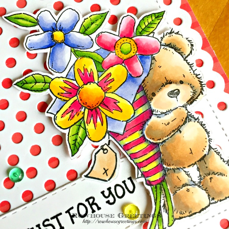 Rowhouse Greetings   Flower Teddy by Penny Black