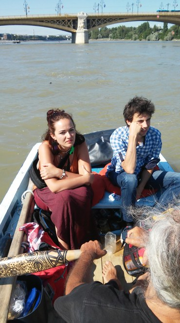 Guests on the boat in Budapest: Anastasia (Ukraine) and Barna (Hungary)