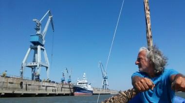 Passing the biggest Danube harbour Galati, Romania.