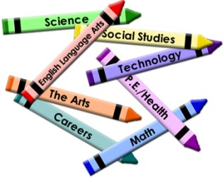 Curriculum represented by a number of pencils each marked with a subject listed on them