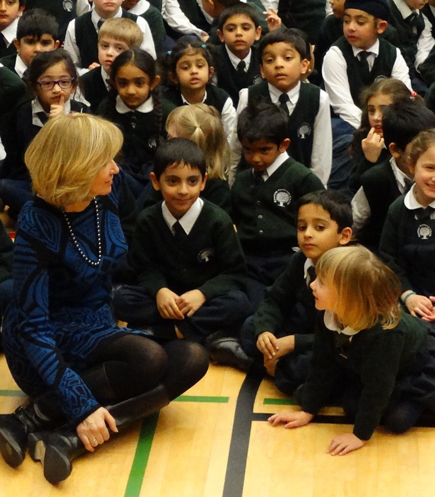Mrs. Laureen Harper mingling with students