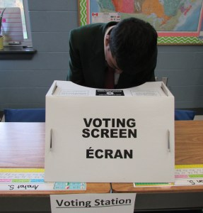Student at the voting station