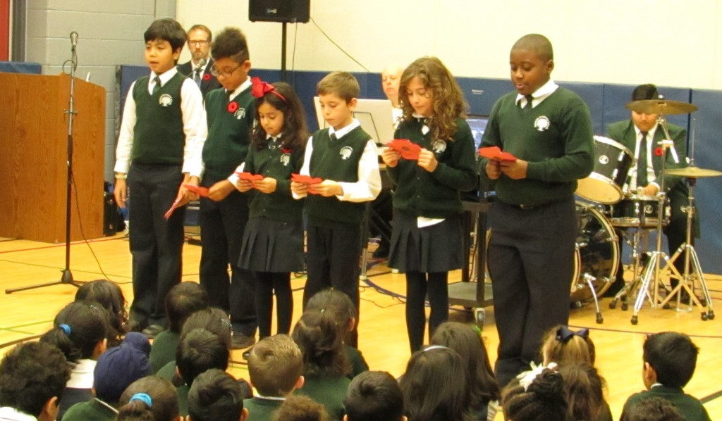 Students performing at the RMS 2015 Remembrance Day Ceremony