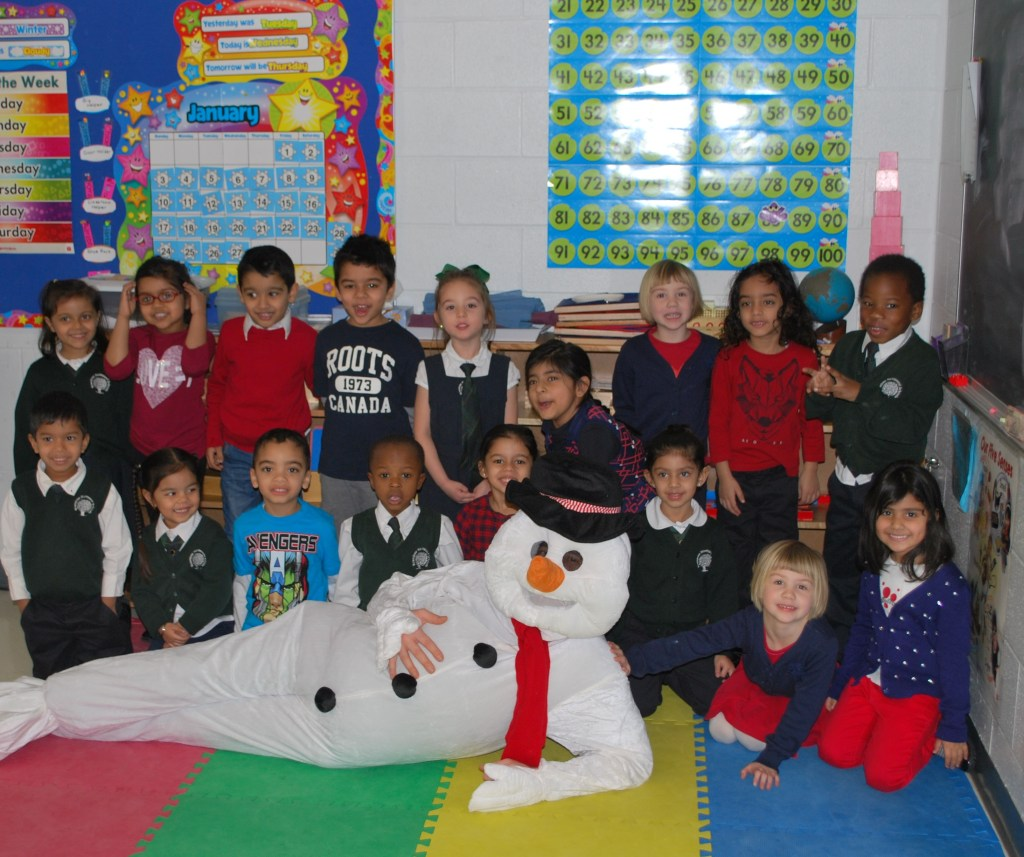 Bonhomme with the Pre-Kindergarten Montessori Students