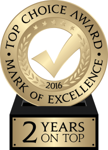 TopChoiceAwards 2016 logo - 2 years on Top