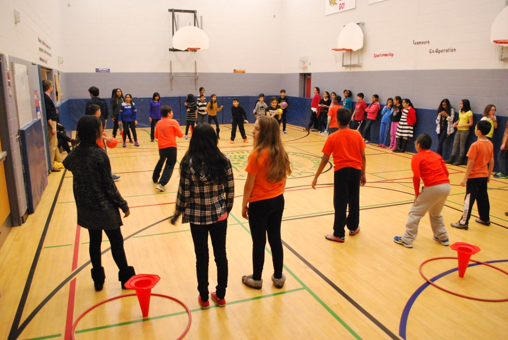Students set up activities and games for all to play