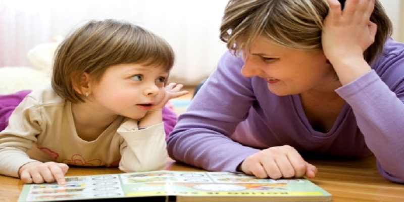 A parent and child teaching and learning together