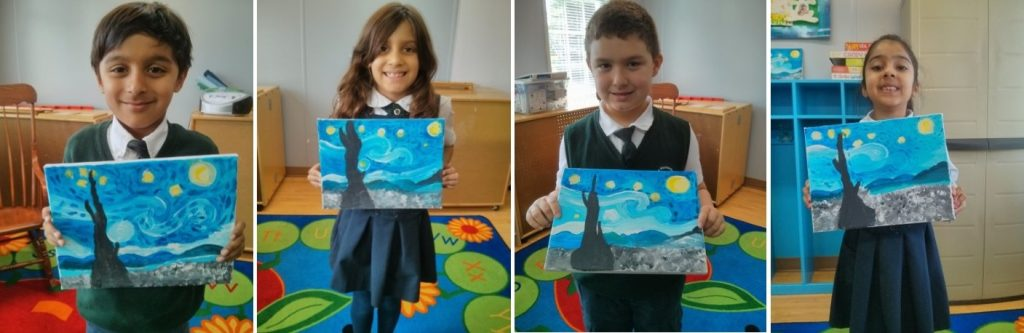 Students holding Vincent van Gogh paintings